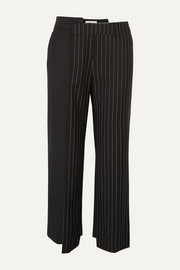 Monse Paneled pinstriped wool straight-leg pants