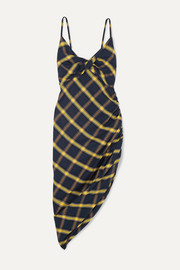 Monse Asymmetric ruched checked brushed-cotton midi dress