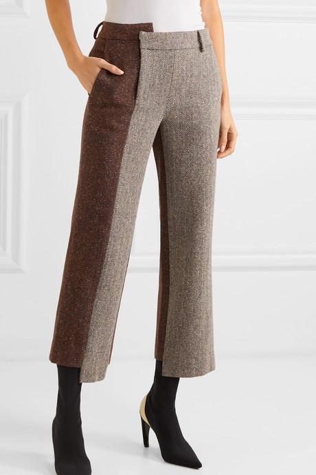 Cropped paneled herringbone wool-blend straight-leg pants