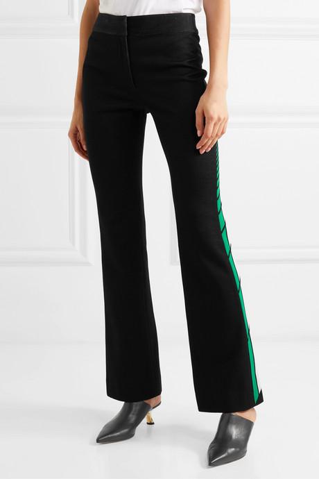 Striped cotton-blend jacquard flared pants