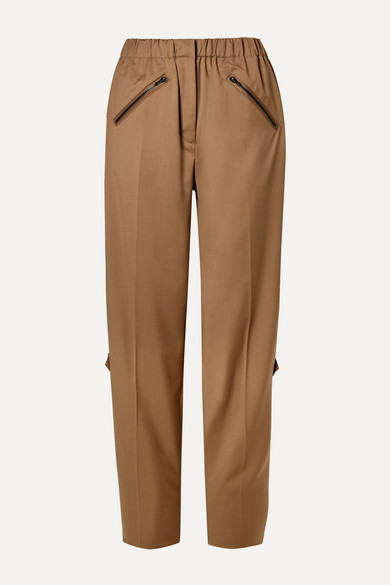 Celestine Zip Embellished Wool Twill Straight Leg Pants by Preen By Thornton Bregazzi