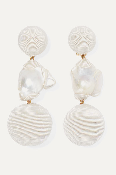 Gem Bonbons Gold Plated, Cord And Pearl Clip Earrings by Rebecca De Ravenel
