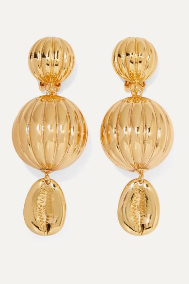 Be Charmed Gold Plated Clip Earrings by Rebecca De Ravenel