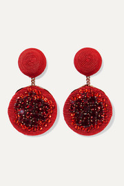 Pomegranate gold-plated, cord and crystal clip earrings