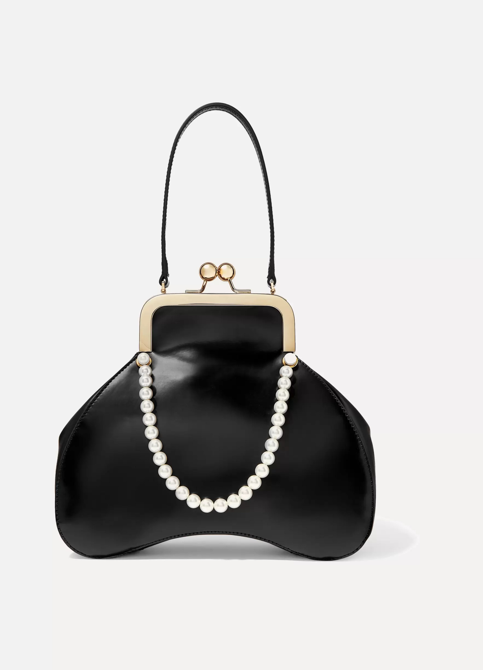 Simone Rocha Baby Bean faux pearl-embellished leather tote
