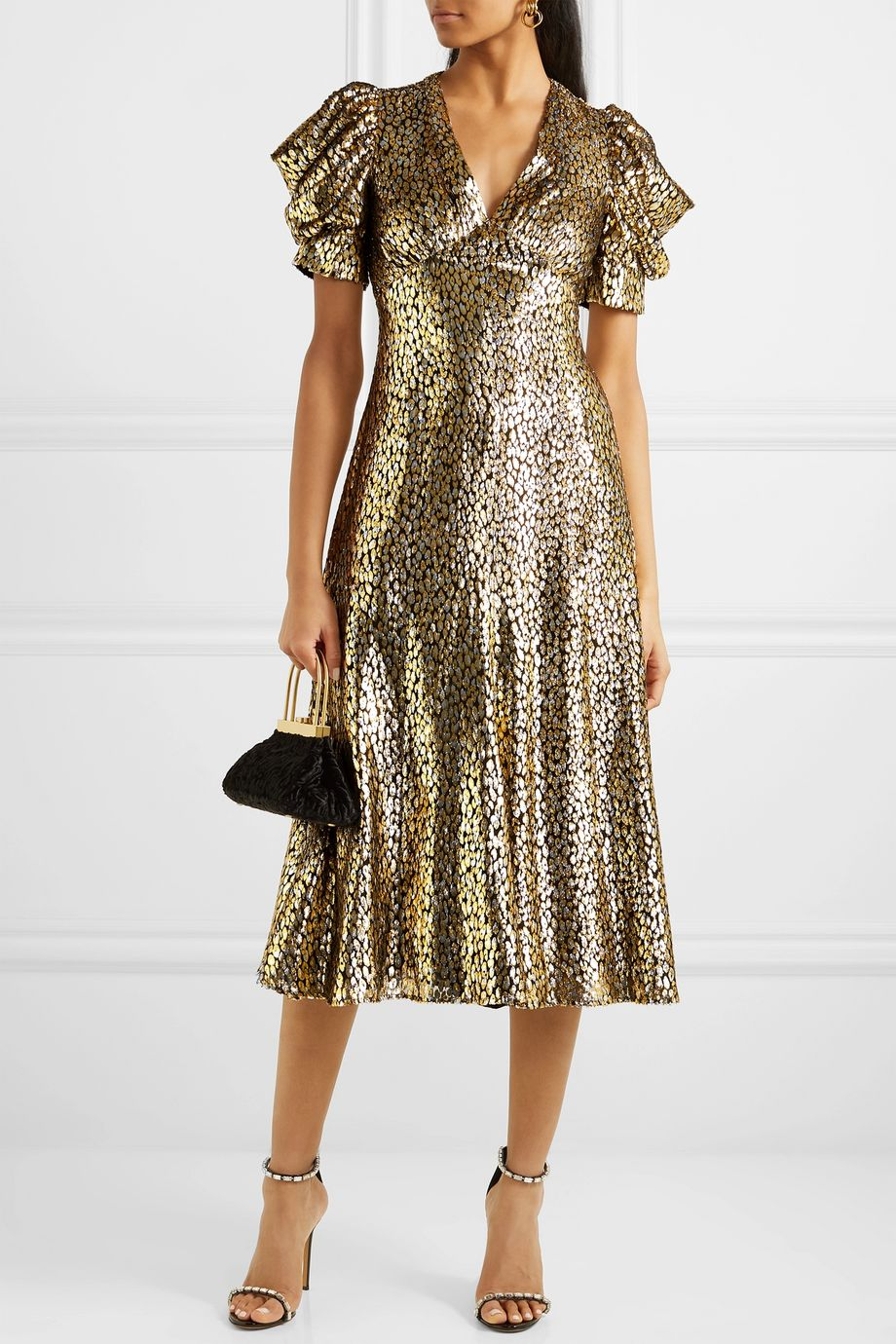 Michael Kors Collection Metallic fil coupé leopard-jacquard midi dress