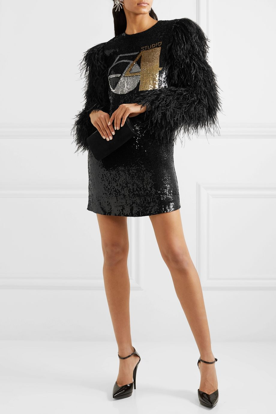 Michael Kors Collection Feather-trimmed sequined silk-georgette mini dress