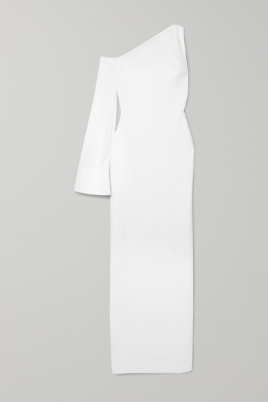 Siara One Sleeve Stretch Crepe Gown by Solace London