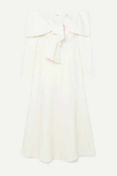 Off The Shoulder Tie Front Wool Blend Crepe Midi Dress by Lela Rose