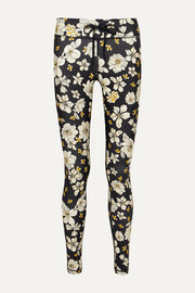 Peony striped floral-print stretch leggings