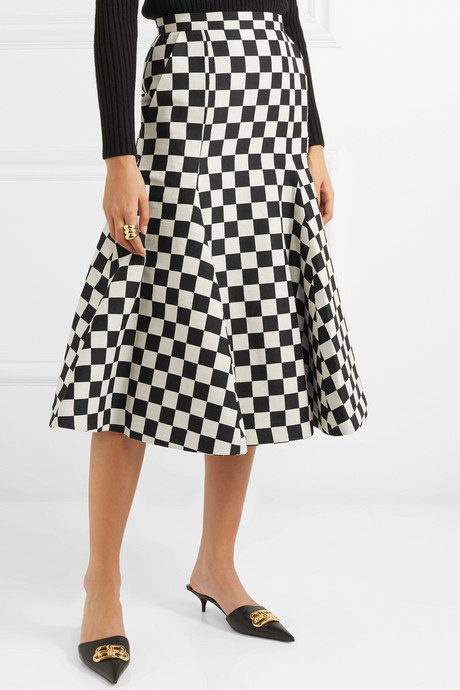Fluted checked wool-blend midi skirt