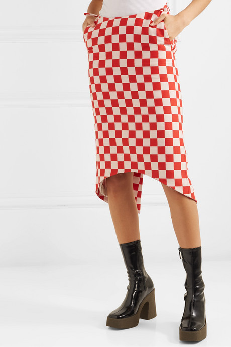 Asymmetric checked wool-blend skirt