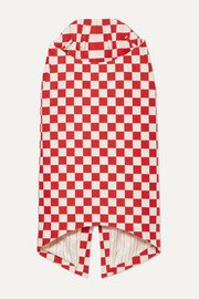 Pushbutton Asymmetric checked wool-blend skirt