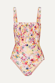 Peony + NET SUSTAIN crochet-trimmed pintucked floral-print swimsuit
