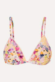 + NET SUSTAIN picot-trimmed floral-print bikini top