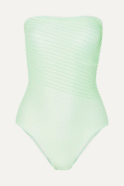 Peony + NET SUSTAIN cutout pintucked polka-dot bandeau swimsuit