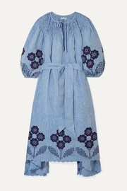 Hugh Jesmok embroidered broderie anglaise linen-chambray midi dress