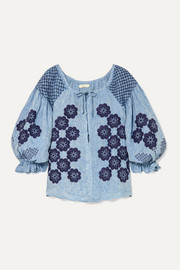 Oliver Daily embroidered linen-chambray top