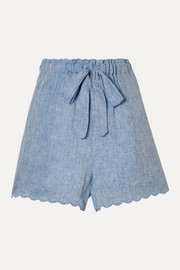 Wilma Butfiet scalloped linen-chambray shorts