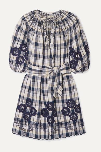 Hans Ufmafrök Broderie Anglaise Trimmed Checked Linen Mini Dress by Innika Choo
