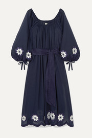 Frida Wailes off-the-shoulder  belted embroidered cotton-voile dress