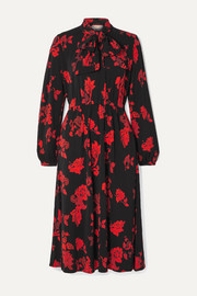 Tory Burch Tie-neck floral-print jersey midi dress