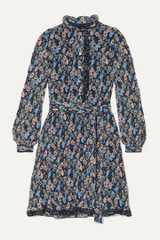 Tory Burch Deneuve ruffled floral-print plissé-georgette dress