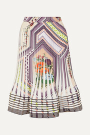 Tory Burch Pleated printed crepe skirt