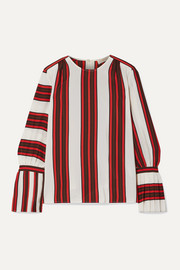 Tory Burch Striped silk crepe de chine top