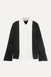 Tory Burch Pleated paneled silk crepe de chine and crepe shirt
