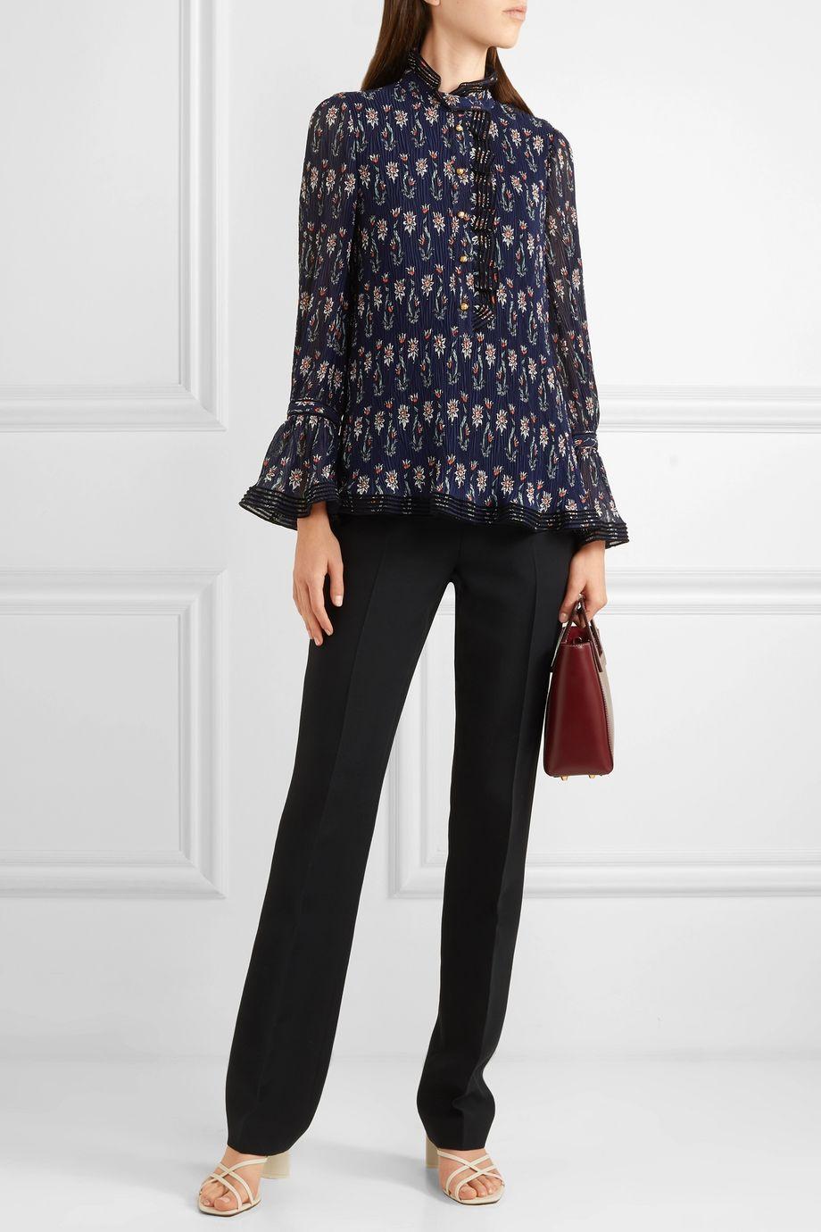 Tory Burch Deneuve ruffled floral-print plissé-georgette blouse
