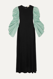 Tory Burch Ruched taffeta and crepe maxi dress