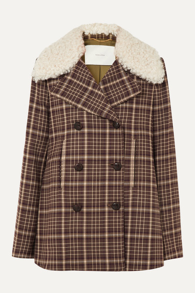 Shearling Trimmed Checked Woven Coat by Adam Lippes