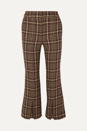 Cropped checked woven flared pants