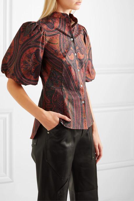 Paisley-print stretch-cotton poplin blouse