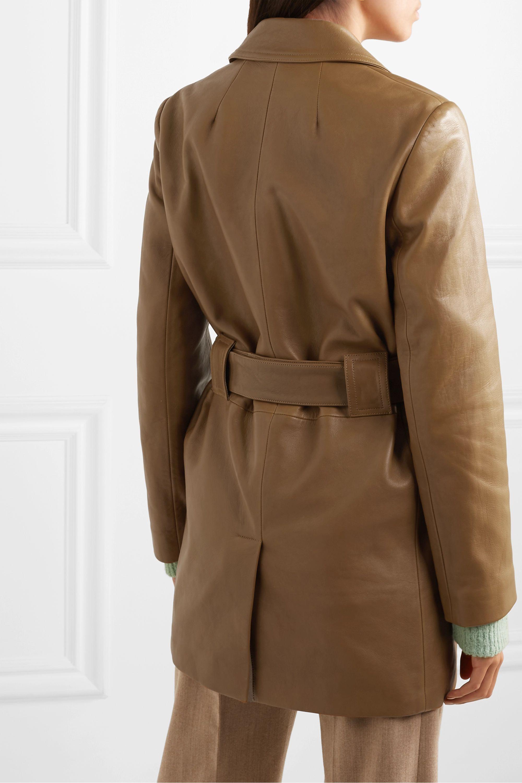 Theory Doppelreihiger Mantel aus Leder mit Gürtel