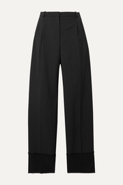 Frayed satin-trimmed wool straight-leg pants