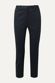 Theory Cropped pinstriped stretch-knit slim-leg pants