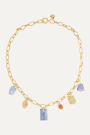 Monica Vinader + Caroline Issa gold vermeil multi-stone necklace