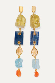 Monica Vinader + Caroline Issa gold vermeil multi-stone earrings