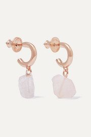Monica Vinader + Caroline Issa rose gold vermeil and rose quartz earrings