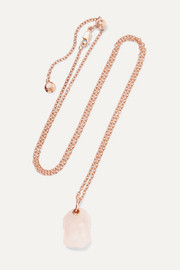 Monica Vinader + Caroline Issa rose gold vermeil quartz necklace
