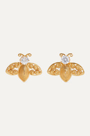 Abeille gold vermeil crystal earrings
