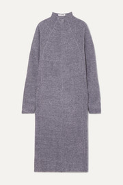 Paneled mélange cashmere, wool and silk-blend midi dress