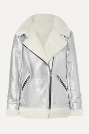 The Mighty Company The Hayle shearling-trimmed metallic leather biker jacket