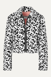 The Mighty Company The Hamilton leather-trimmed animal-print faux fur jacket