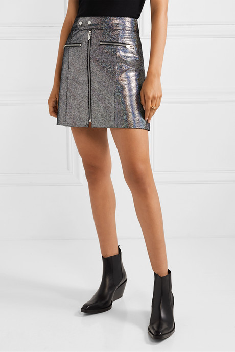 The Ripon metallic coated suede mini skirt