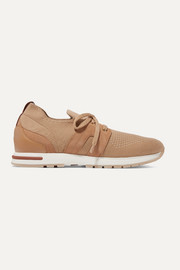Flexy Lady cashmere, suede and leather sneakers
