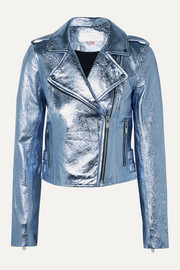 The Mighty Company The Lecce metallic crinkled-leather biker jacket