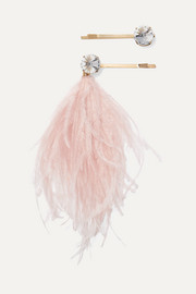 Rosantica Revolution set of two gold-tone feather and crystal hair slides